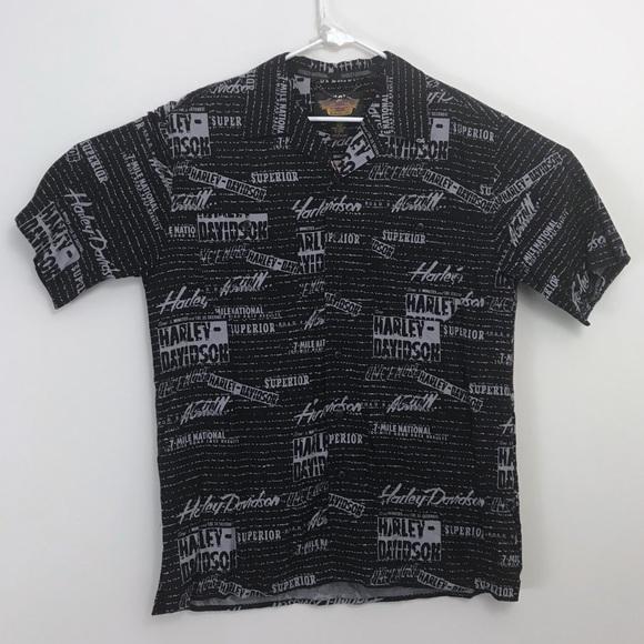 Harley-Davidson Other - Harley-Davidson • Aloha All Over Logo Print Shirt